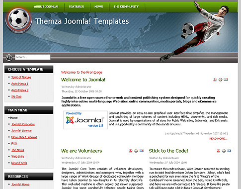 Free Joomla 15x Templates Football Arena by ThemZa
