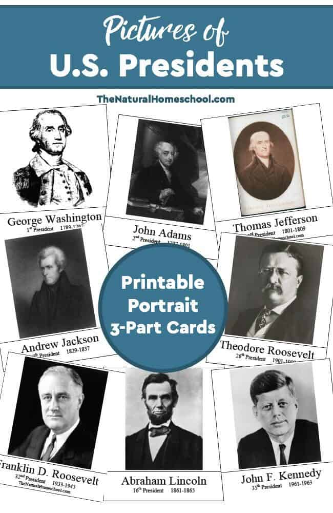 Pictures of US Presidents {Printable 3-Part Cards} - The Natural