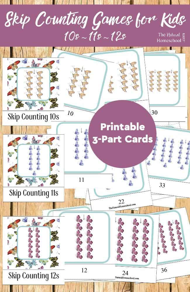 Skip Counting Games for Kids {10s, 11s, 12s Printable 3-Part Cards