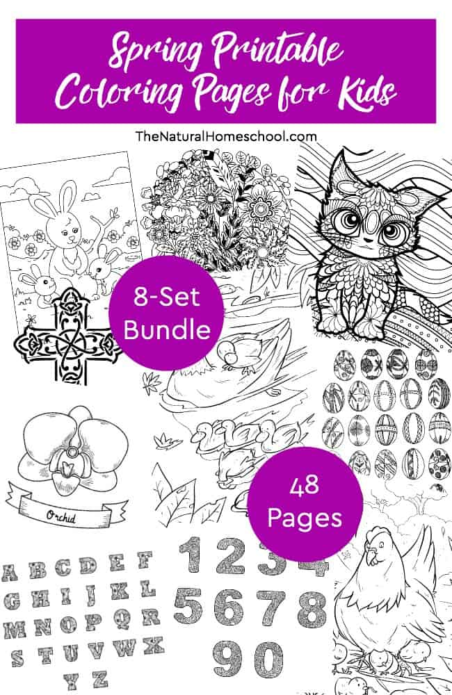Spring Printable Coloring Pages for Kids ~ 8-Set Bundle - The