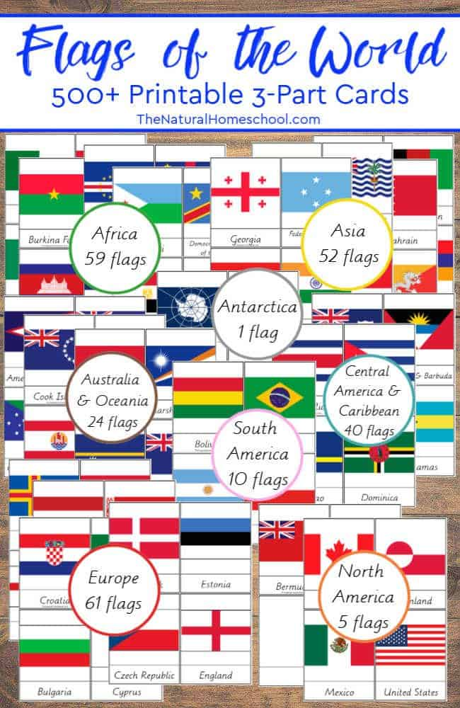 Country Flags of the World ~ 500+ Printable 3-Part Cards - The