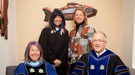 Clockwise from top left: Buffy Sainte-Marie, singer/songwriter and VIU honorary doctorate; Diane La eur, VIU's new Deputy Minister University Champion and Associate Deputy Minister of Indigenous and Northern Affairs Canada; Dr. Ralph Nilson, VIU's President and Vice-Chancellor; and Louise Mandell, VIU's Chancellor. 📷 VIU Communications