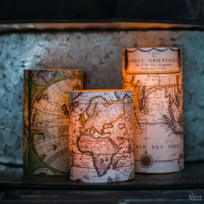 Decoupage Candles with Antique World Maps (FREE Printables!)