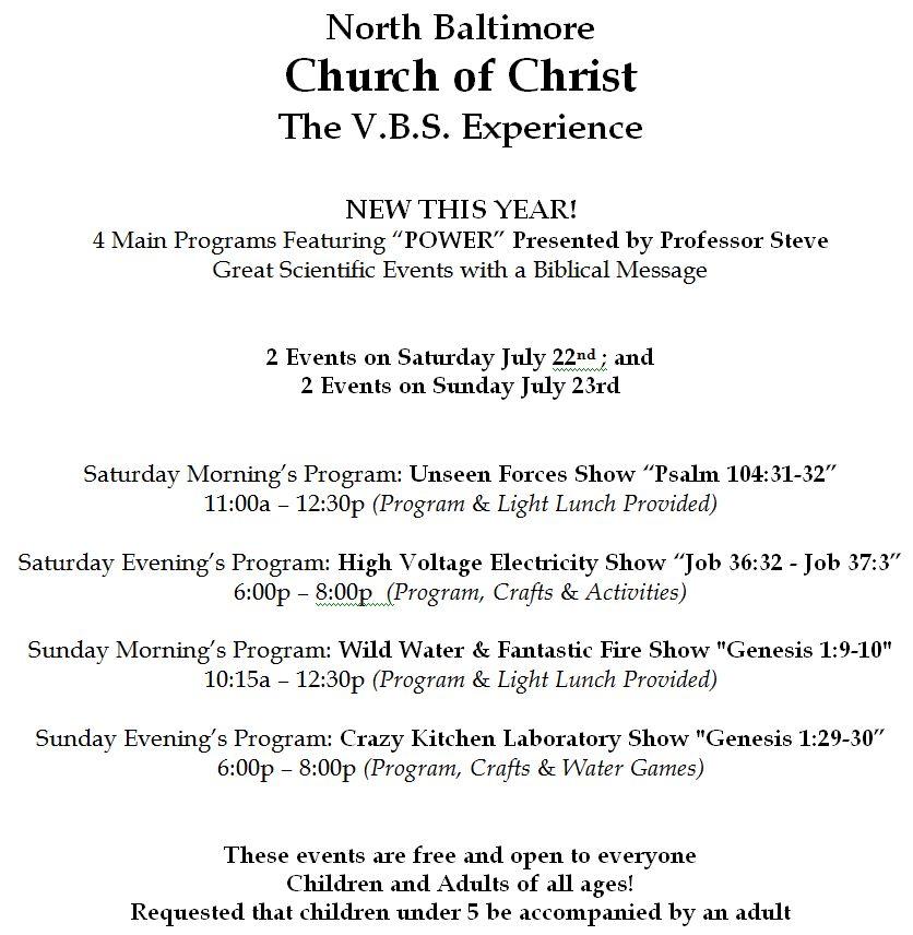 NB Church of Christ VBS This Weekend TheNBXpress - church program