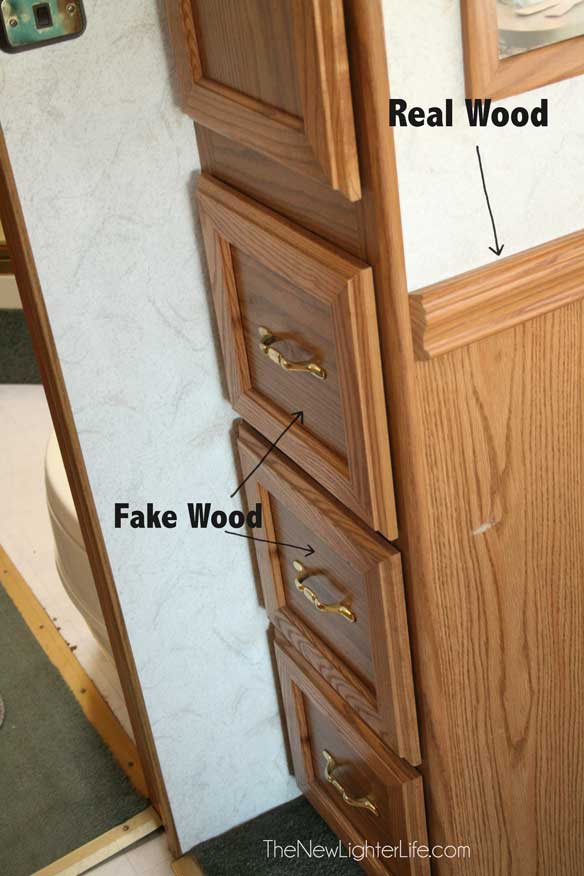 How to paint rv cabinets without sanding or primer for Wood doors on painted cabinets
