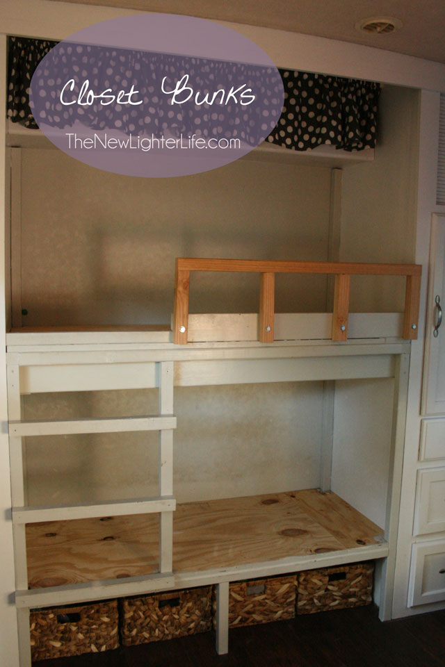 Rv bunk remodel turning a class a master bedroom in a for Rv loft bed