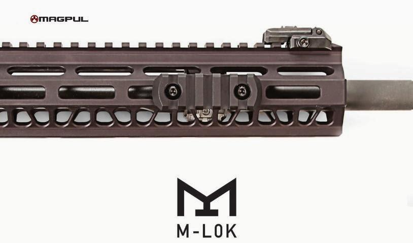 Magpuls M-Lok utilizes rectangular slots to mount hardware.