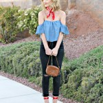 Chambray off the shoulder with bandana