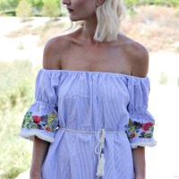SEARSUCKER OFF THE SHOULDER EMBROIDERED DRESS