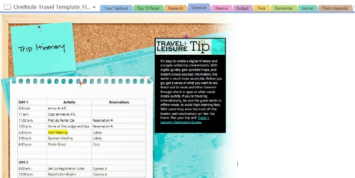 Travel Made Easy with Microsoft OneNote Travel Template {Giveaway - trip maker software