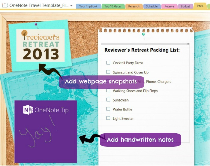 Travel Made Easy with Microsoft OneNote Travel Template {Giveaway - one note templates