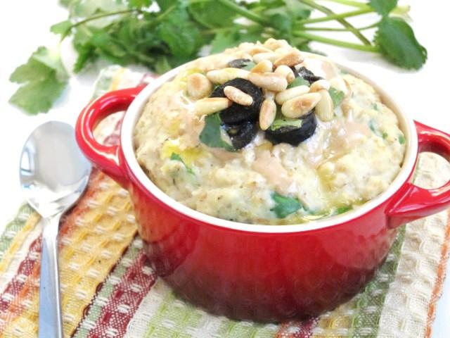 Savory Greek Oatmeal by the Oatmeal Artist #vegan