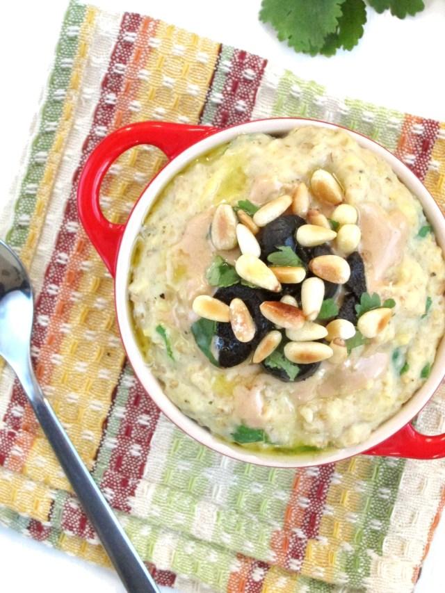 Savory Greek Oatmeal #vegan #oatmealartist