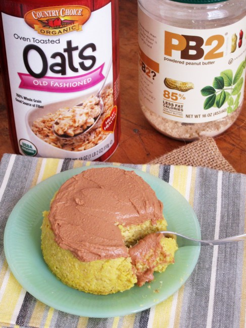 Yellow Cake Baked Oatmeal with Chocolate PB2 Frosting by The Oatmeal Artist #vegan