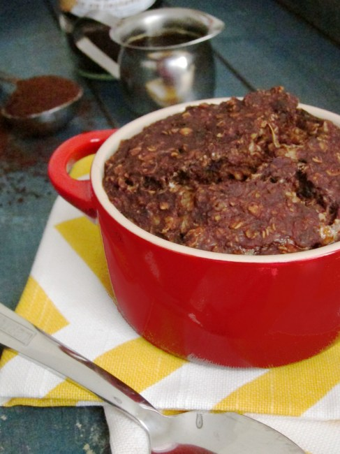 Mocha Baked Oatmeal with Almond Butter Center