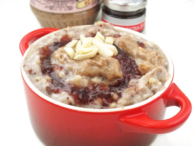 Applesauce Ancient Grain Oatmeal with Cherry Jam and Almond Butter by the #oatmealartist