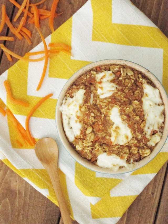 Carrot Cake Baked Oatmeal with #vegan Cream Cheese by the Oatmeal Artist