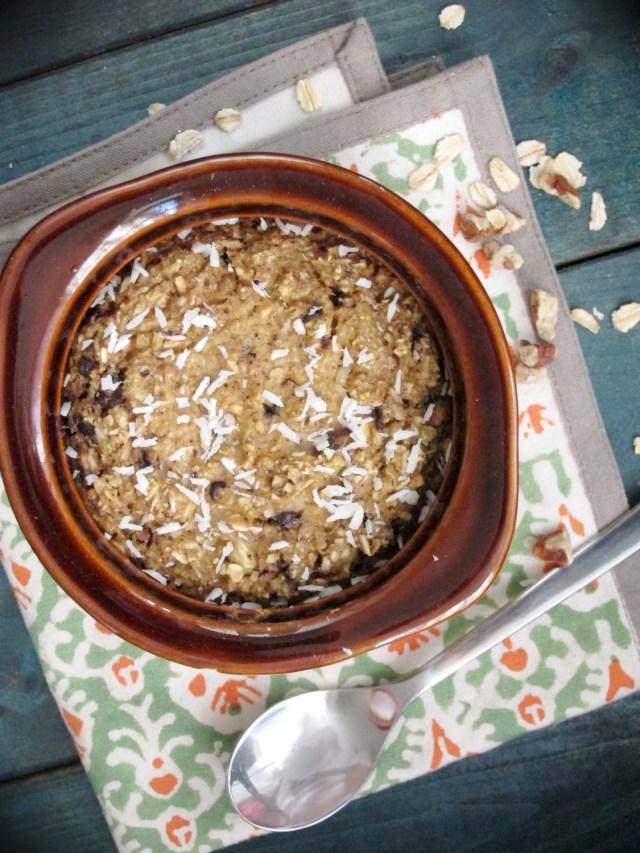 Cowboy Cookie Baked Oatmeal #Vegan #OatmealArtist