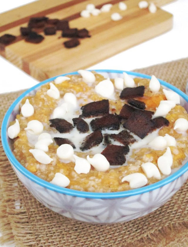 Sweet Potato, Bacon, and White Chocolate Oatmeal -- it's vegan!