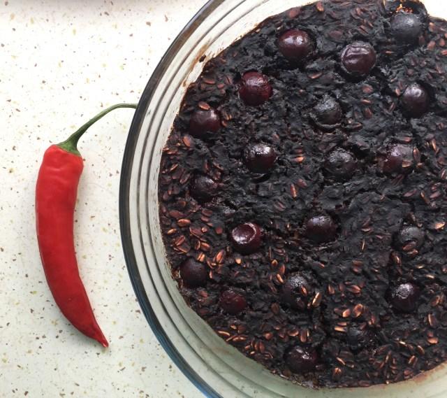 Cherry Chili Brownie Baked Oatmeal #oatmealartist #vegan