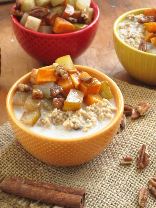 Cinnnamon Raisin Oatmeal with Maple Roasted Sweet Potato and Pear #OatmealArtist #Vegan