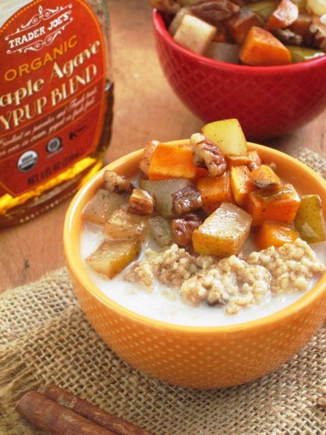 Cinnnamon Raisin Oatmeal with Maple Roasted Sweet Potato and Pear #Vegan #OatmealArtist