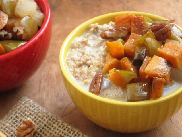 Cinnnamon Raisin Oatmeal with Maple Roasted Sweet Potato and Pear
