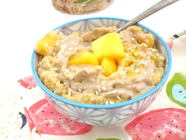 Mango Tahini Oatmeal #Vegan #OatmealArtist