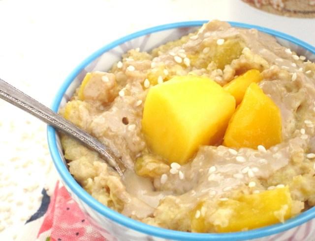 Mango Tahini Oatmeal by the Oatmeal Artist #Vegan