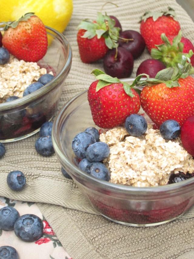 Cherry-Berry Breakfast Cobbler #OatmealArtist #vegan