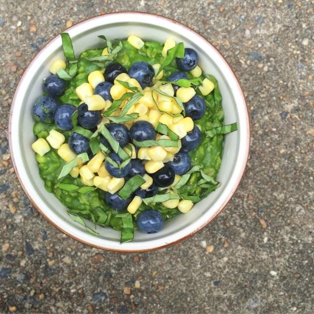 Savory Corn, Blueberry, and Basil Oatmeal #vegan