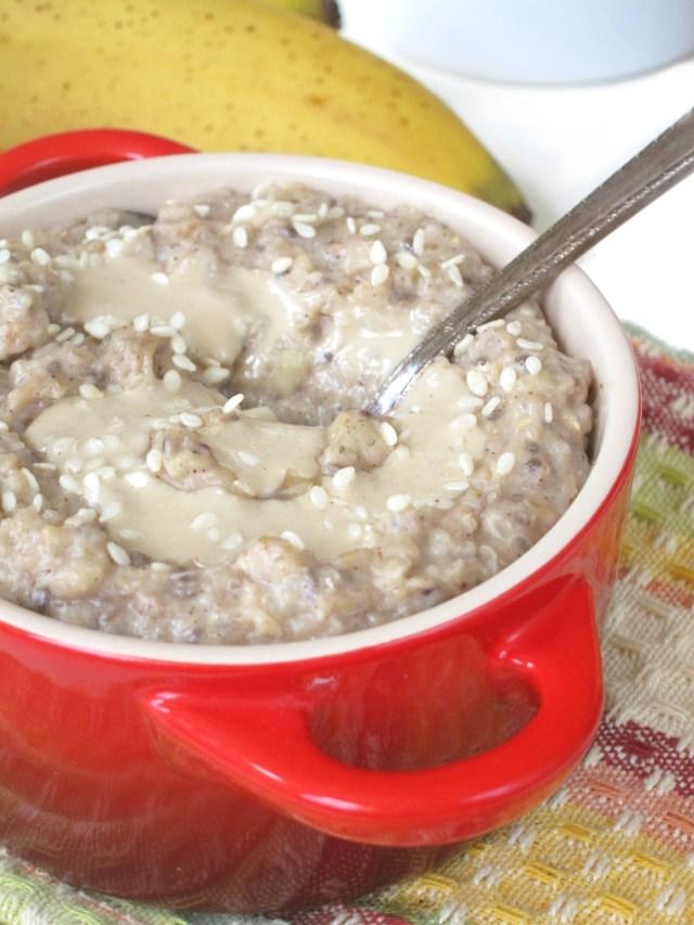 Molasses Tahini Oatmeal #Vegan #OatmealArtist