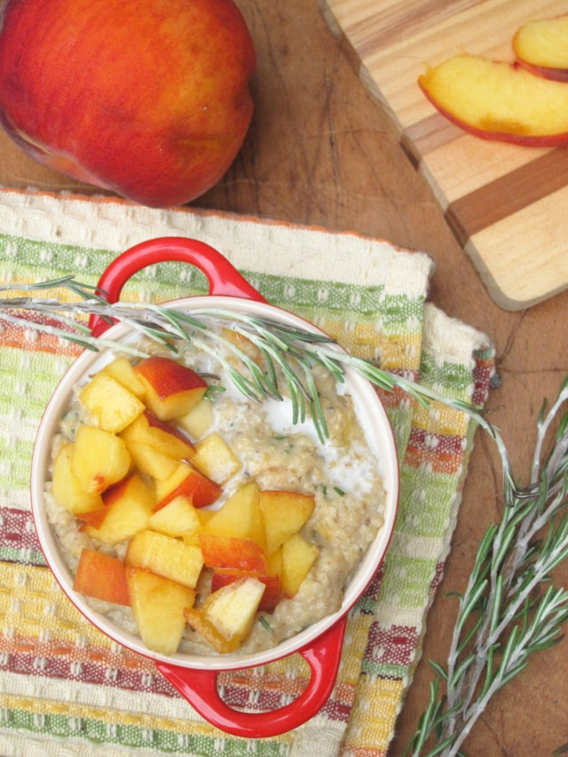 Peach Rosemary Oatmeal by the Oatmeal Artist #Vegan