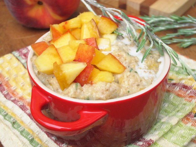 Peach Rosemary Oatmeal by the #OatmealArtist #Vegan