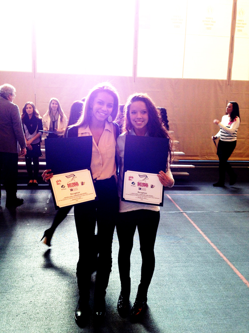 Photo courtesy Kim HuarangaHarrison's Rayven Lucas (left) and Lyndhurst's Lexus Lopez (right) were two of the top female student/athletes honored at the National Girls and Women in Sports Day at Seton Hall last week.