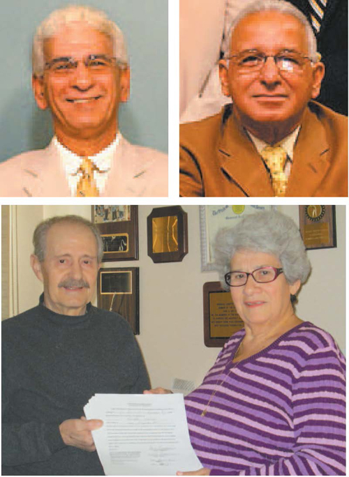 Top photos courtesy Township of Lyndhurst website, Bottom photo by Ron Leir Clockwise, from l., Commissioners Tom Dimaggio and Robert Giangeruso, now serving as mayor, are seeking re-election while Annette Bortone, holding nominating petitions with husband Pasquale, is also running.