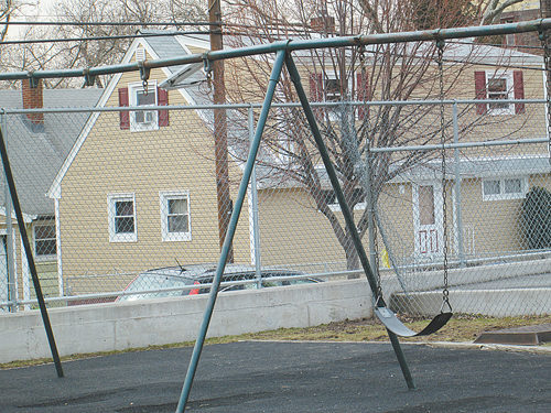 Photo by Ron Leir Some swings are missing.