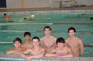 Photo courtesy Scott Fuchs The Kearny swim team had its best season in recent memory. Front row, from left, are Patrick Carvajal, Gabe Zanadrea and Matt Amar. Back row, from left, are Sid Naik, Adam Coppola and Mateo Caceres.