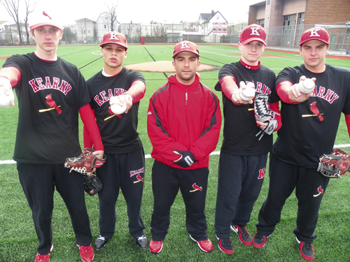 Photo by Jim Hague The Kearny pitching staff, from l., Albin Niedzielski, Eric Greenlee, head coach Frank Bifulco, Bryan Rowe and Kyle MacConchie, hold the keys to the Kardinals' success this season.