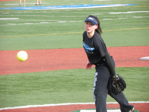 Photos by Jim Hague Harrison sophomore pitcher Fiona Slattery holds the key to the Blue Tide's success this season.