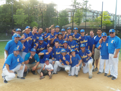 Photo by Jim Hague The Lyndhurst baseball team celebrates after winning the NJSIAA North Jersey Section 2, Group II championship last Friday in Lyndhurst. The Golden Bears scored three runs in the bottom of the seventh inning to secure a thrilling 8-7 victory. It was the school's first state sectional title since 2008.
