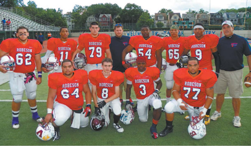 Photo by Jim Hague The East squad in the 20th annual Robeson High School Football All-Star Classic was well represented by local talent. Back row from l. are Joe Rivera of Bloomfield, Jaquan Boyd of Bloomfield, Chris Merkle of Nutley, assistant coach Zac Dearwater of Bloomfield, Adam Wooten of Bloomfield, Anthony Mastrimi of Bloomfield, Aaquil Ingram of Belleville and coach Mike Carter of Bloomfield. Front row, from l., are Brian Hicks of Bloomfield, Sal Gabriele of Nutley, Isaiah Dockett of Bloomfield and David Hicks of Bloomfield.