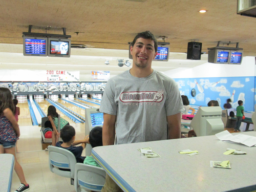 Photo by Ron Leir Every other Friday, kids practice at the Bowl-O-Rama under the watchful eye of Terry Iavarone.