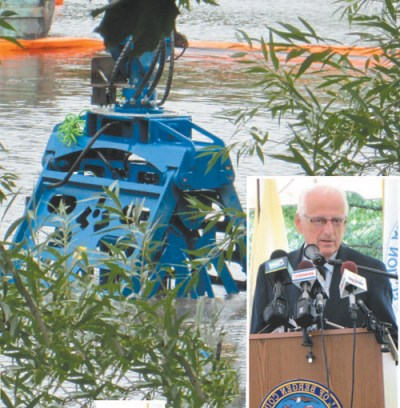 Photos by Ron Leir As cleanup of the Passaic River continues, Rep. Bill Pascrell (inset) is battling Gov. Chris Christie over allocation of funds to remove pollutants from the water.