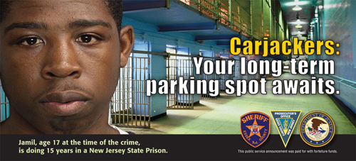 Photo courtesy of ECPO One of the billboards to be posted in Essex County. That's a real kid who is serving a real sentence.