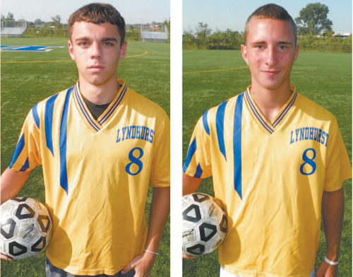 Photos by Jim Hague The Lyndhurst boys' soccer team is showing signs of turning the corner, thanks to the return of senior Anthony Giaquinto (l.), who missed most of last season with an injury, and the solid contributions of senior midfielder Michael Polito.