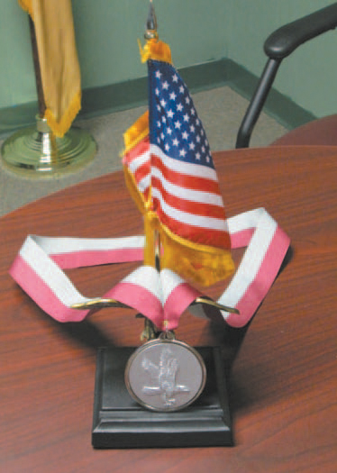Photo by Ron Leir An upclose view of the Nutley medal.