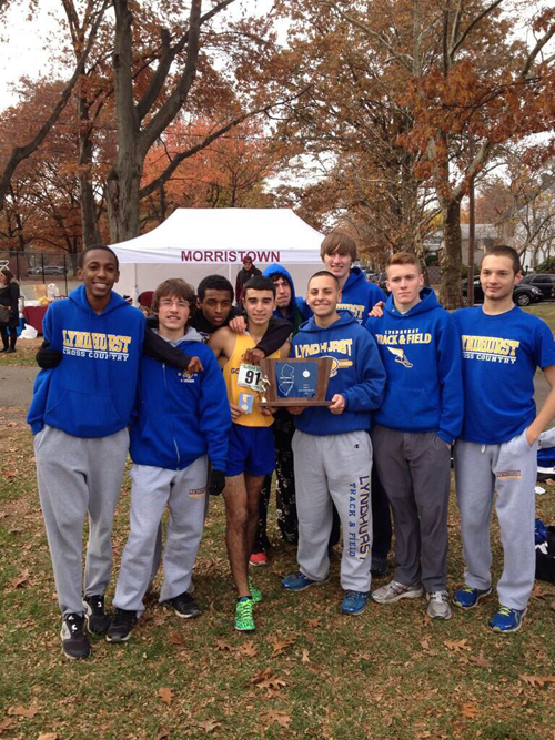 Photo courtesy Kane McDermott The Lyndhurst boys' cross country team won the NJSIAA North Jersey Section 2, Group I state championship Saturday at Warinanco Park. From l. are Xavier Locke, Anthony Dell Aquila, Abreham Mindaye, Andre Francisco, Dylan Stanko, Stephen Covello, William Hooper, Kane McDermott and Joseph Senak.
