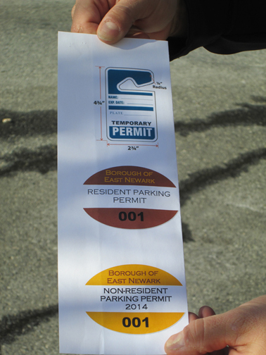 "Photo by Ron Leir Starting next year, drivers will likely need one of these permits to park in East Newark. The ""non-resident"" permit at the bottom is new."