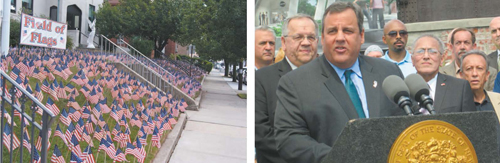 "At l., Lyndhurst's St. Michael the Archangel Church displays the ""Field of Flags"" tribute to fallen heroes. At r., Gov. Chris Christie with Mayor Ray McDonough at ceremonial groundbreaking for upgrade of Harrison PATH station."
